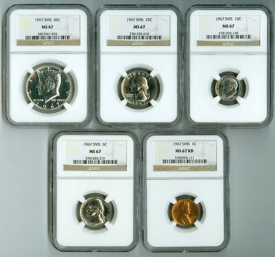 1967 NGC SMS MS67 Extraordinary 5-Coin Set: Half, Quarter, Dime, Nickel and Cent