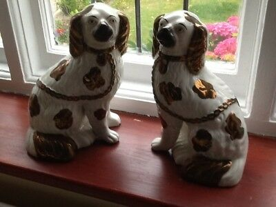 Staffordshire Pair Of Wally Dogs Copper Spots Separated Legs
