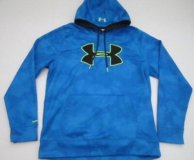 Mens Large Under Armour Storm1 Fleece Big Logo Printed Hoodie blue pullover swea