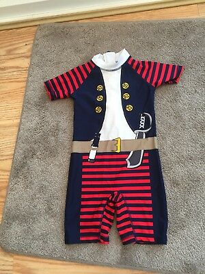 Boys Next Pirate  theme swimming suit all in one swim 3-4 years