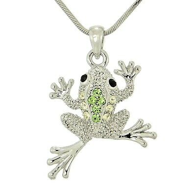 W Swarovski Crystal Frog Jungle Light Green Pendant Jewelry Necklace Gift