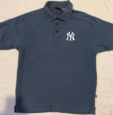 NEW YORK YANKEES Polo Shirt Size Medium Blue Jersey Golf T-shirt ... c64ac33bfa5