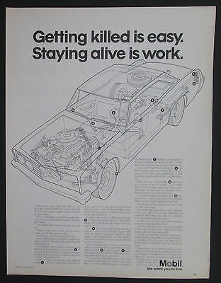 Mobil We Want You To Live Getting Killed Is Easy Original 1967 Print Ad