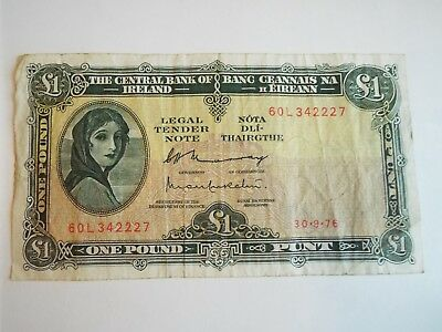 1976 £1 One PUNT LADY LAVERY Vintage Irish Banknote Central Bank of Ireland IE