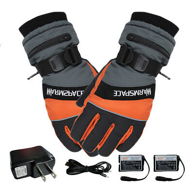 Outdoor Motorcycle Electric Heated Gloves Warmer Hands+2 Rechargeable Battery wk