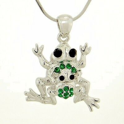 "W Swarovski Crystal Frog Mother Baby Forest Jungle Dark Green Necklace 18"" chain"