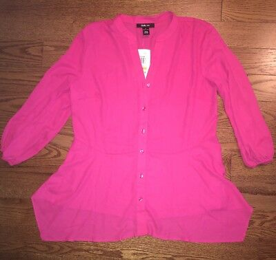 Style And Co. Hot Pink Polyester Button Down Shirt. Size S. BRAND NEW WITH TAGS