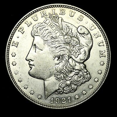 1921 D ~**ABOUT UNCIRCULATED AU**~ Silver Morgan Dollar Rare US Old Coin! #994