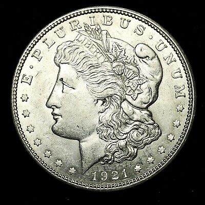1921 D ~**ABOUT UNCIRCULATED AU**~ Silver Morgan Dollar Rare US Old Coin! #247