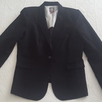 Vince Camuto Womens 14 Black Blazer One Button Cotton Stretch Stripe Lining