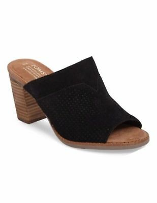 c6d9278c20c TOMS Majorca Mule Women s Sandals Shoes Perforated Leather Suede Black 7 NEW