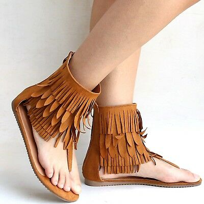 e0e8562fb2d NEW WOMEN FEM7 Tan Fringe Gladiator Mid-Calf Flat Sandals -  14.99 ...