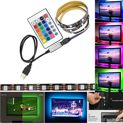 USB Powered RGB Color Change 5050 LED Strips Computer TV PC Back Light Kit DC 5V