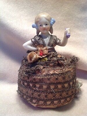 Antique Porcelain Child Half Doll Pincushion, Arms Away - Dressed Holding Grapes
