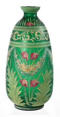 Frosted finish and pastel enameled green Bohemian vase, ca 1900-10 [11482]