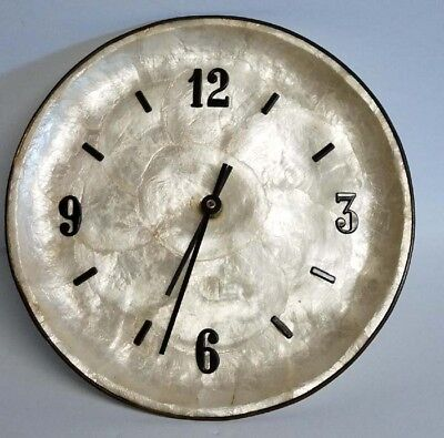 Vintage 10 Pearl White Abalone Shell Beach House Nautical Wall Clock Iridescent