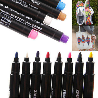Newly Permanent Fabric Paint Marker T-Shirt Pen For Clothes Shoes DIY Graffiti
