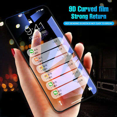 9D Curved Edge Tempered Glass Full Screen Protector Film For iPhone X 6 7 8+ D/O