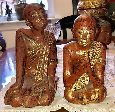 Pair Antique Burmese Wooden Monk Statues Gilded Solid Wood Praying Sitting
