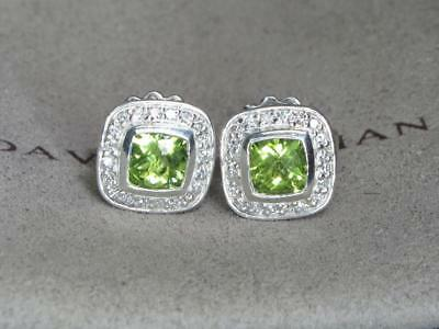 David Yurman Petite Albion 5X5 Peridot Diamond Sterling Silver Earrings