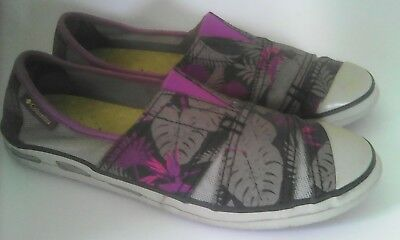 31eba217b410 Columbia Vulc N Vent Canvas Slip On Tropical Shoes Women s Sz 7.5 Purple  Gray
