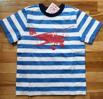 NWT Hanna Andersson BLUE STRIPE AIRPLACE BIPLANE SHORT SLEEVE TEE SHIRT 120 6 7