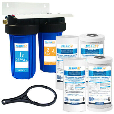 """2x (Carbon Block with Sediment Filter) 10"""" Big Blue Twin Filter Housing Kit"""