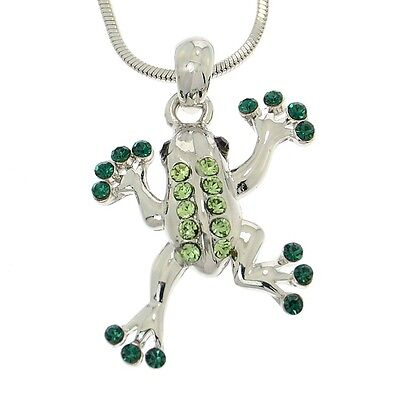 Frog Pendant Made With Swarovski Crystal Dark Green Jungle Necklace Chain