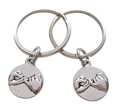 2x Pinky Promise Charm Keychain Ring Jewelry Love Couples Best Friend Friendship
