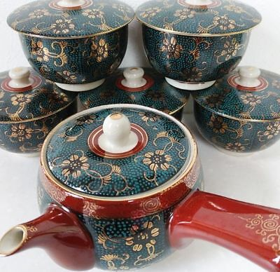 Antique Kutani ware teapot cup sets Japan retro popular rare beautiful EMS F/S!