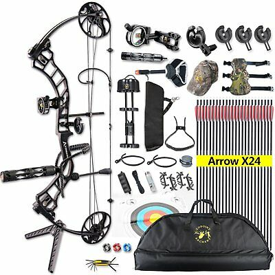 US Stock 15-70lb Compound Bow & Arrow Hunting Target Archery CNC 19-30 ""