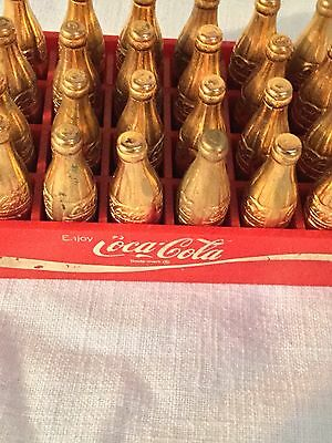 Rare Trade mark 24 Vtg Mini Coca-Cola gold bottles original red case complete