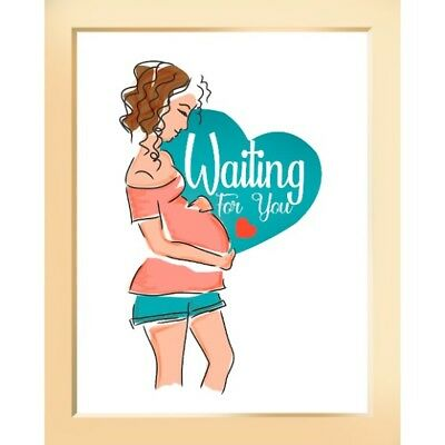 Modern Wall Decor Art Poster Print 8 x 10 Quote Nursery Waiting On You Baby Mom