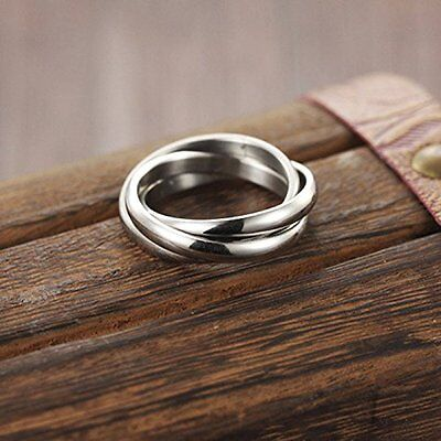 Unique Silver Look Steel Triple Infinity Band Ring Three Interwoven Unisex 18