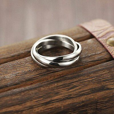 Stylish Silver Look Steel Triple Infinity Band Ring Three Interwoven Size 18