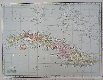 Vintage 1915 Dated CUBA Map. Bahamas Grand Cayman Map Art CARIBBEAN WEST INDIES