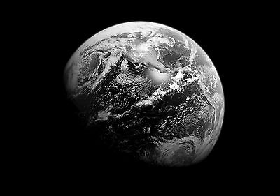 Planet Earth Large Poster Art Print Black & White Card or Canvas