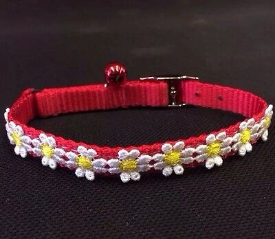 Cat kitten Collar Red & White Daisys & Bell Quick Release Safety Adjustable