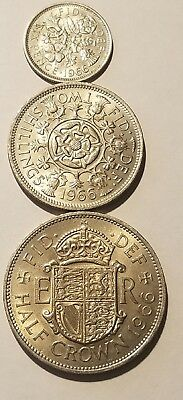 1966 England (UK)  Uncirculated Blazers - 1/2 Crown, 2 Shillings & 6 Pence