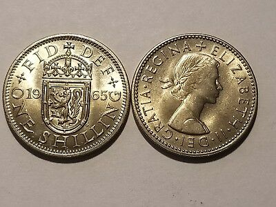 1965 England Uncirculated Blazers - 1 Shilling - Elizabeth II - Scottish Shield