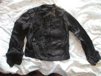 Antique Victorian Mourning French jet beaded lace Top. Study or costume