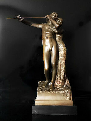 Jugendstil Bronze Sculpture of Tamino and Pamina by Carl Wollek