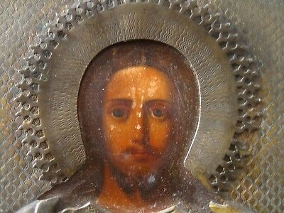 Antique 19c Russian Orthodox printed on paper Icon Christ Pantocrator in brass.