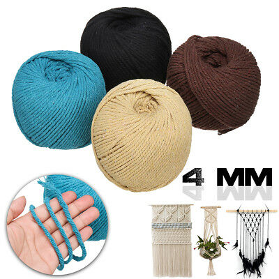 4mm Macrame Rope Colorful Cotton Twisted Cord Artisan String DIY Hand Craft AU