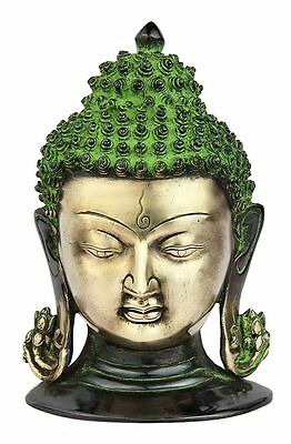 Brass Buddha Mask Wall Hanging Décor Art Bronze Statue Tibet Mask 8""