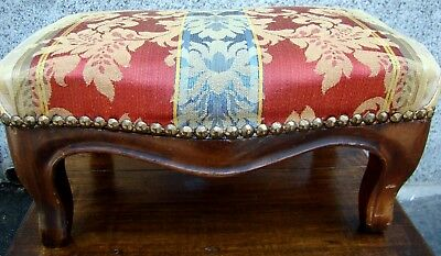FOOTREST ANTIQUE WOOD AND UPHOLSTERED STOOL End '800 PIEDMONT righe floral