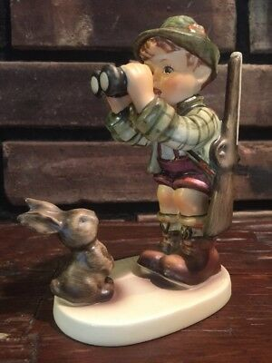 Vintage 1955 Goebel Hummel Figurine #307 Collectible, Good Hunting Boy & Rabbit