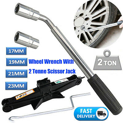 Extendable Telescopic Wheel Brace Wrench Car Van Socket Tyre Nut + Scissor Jack