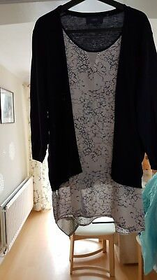 Ladies  navy and white jumper blouse all in one size 20