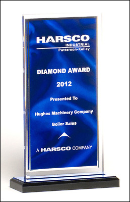 **new Acrylic Award With Dark Blue Background Black Acrylic Base Engraved